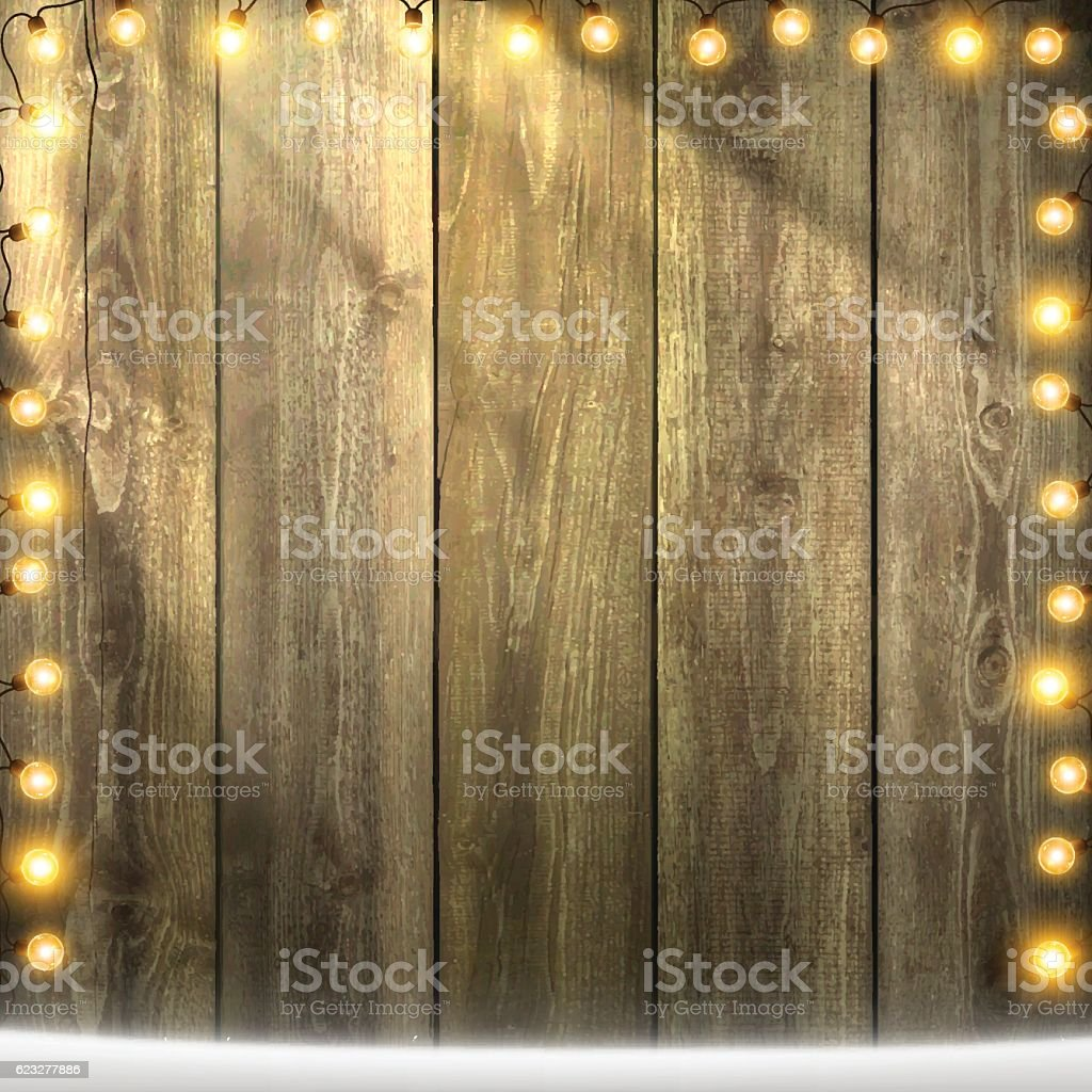 Christmas Lights on lit blank wooden background with snow vector art illustration