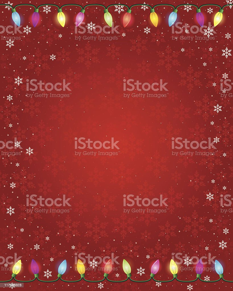 Christmas Lights on Red Background royalty-free stock vector art