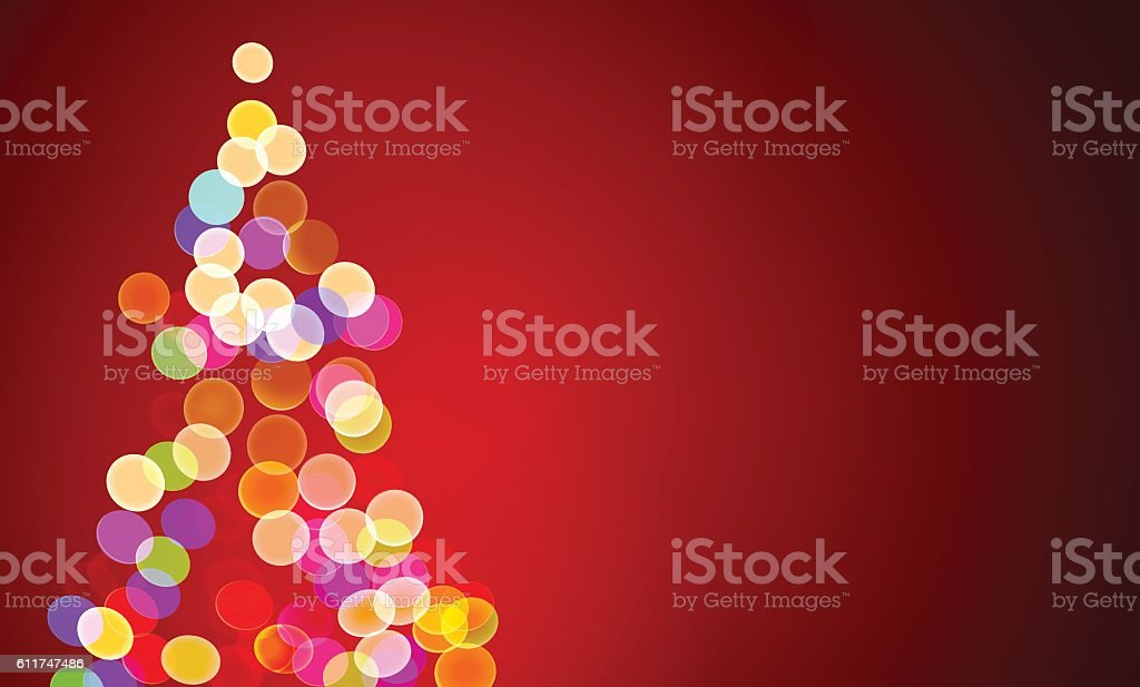 christmas lights on tree, out of focus vector art illustration