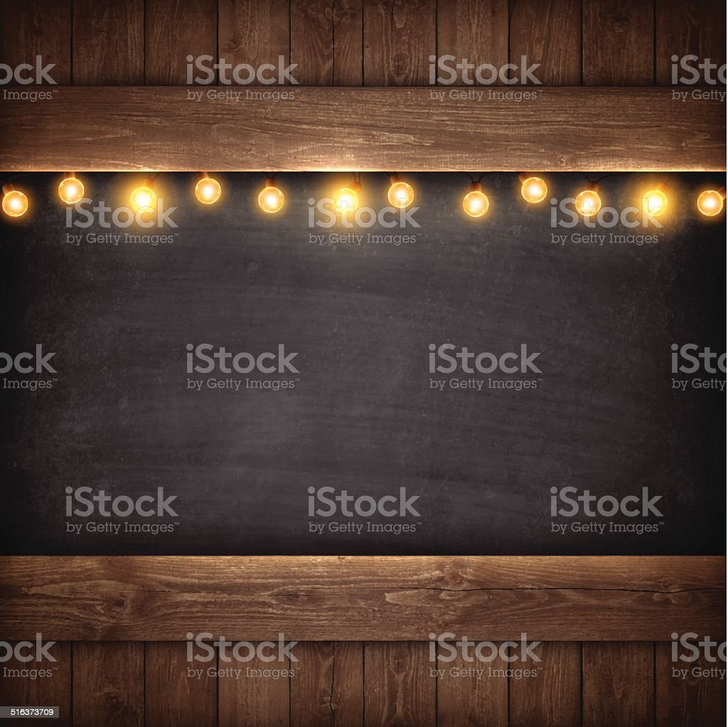 Christmas Lights on Wooden Boards and Chalkboard vector art illustration