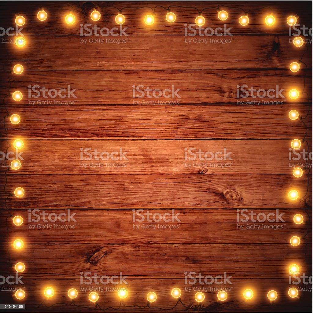 Christmas Lights on Wooden Texture vector art illustration