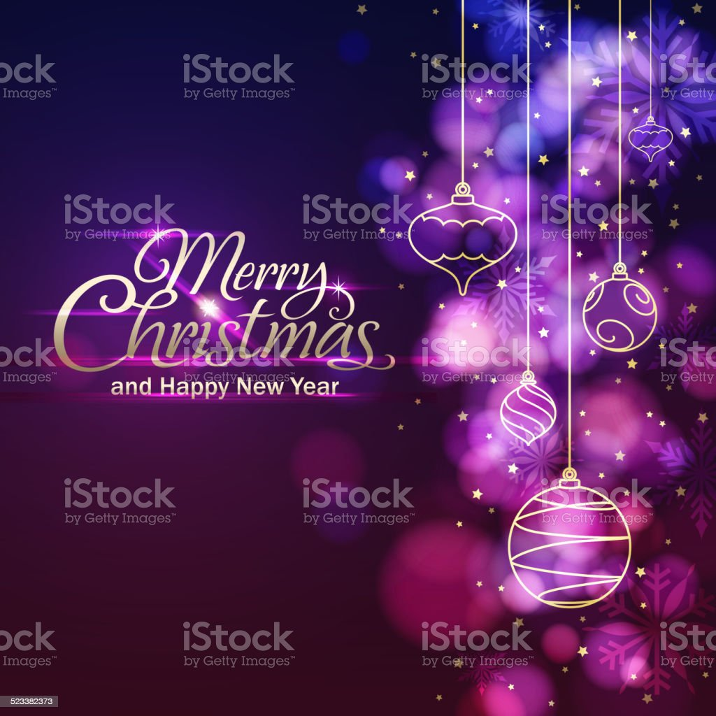 Christmas Lights & Ornamnets Background vector art illustration