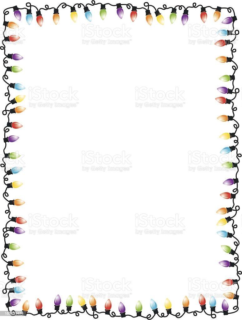 Christmas Lights Party Frame Background vector art illustration