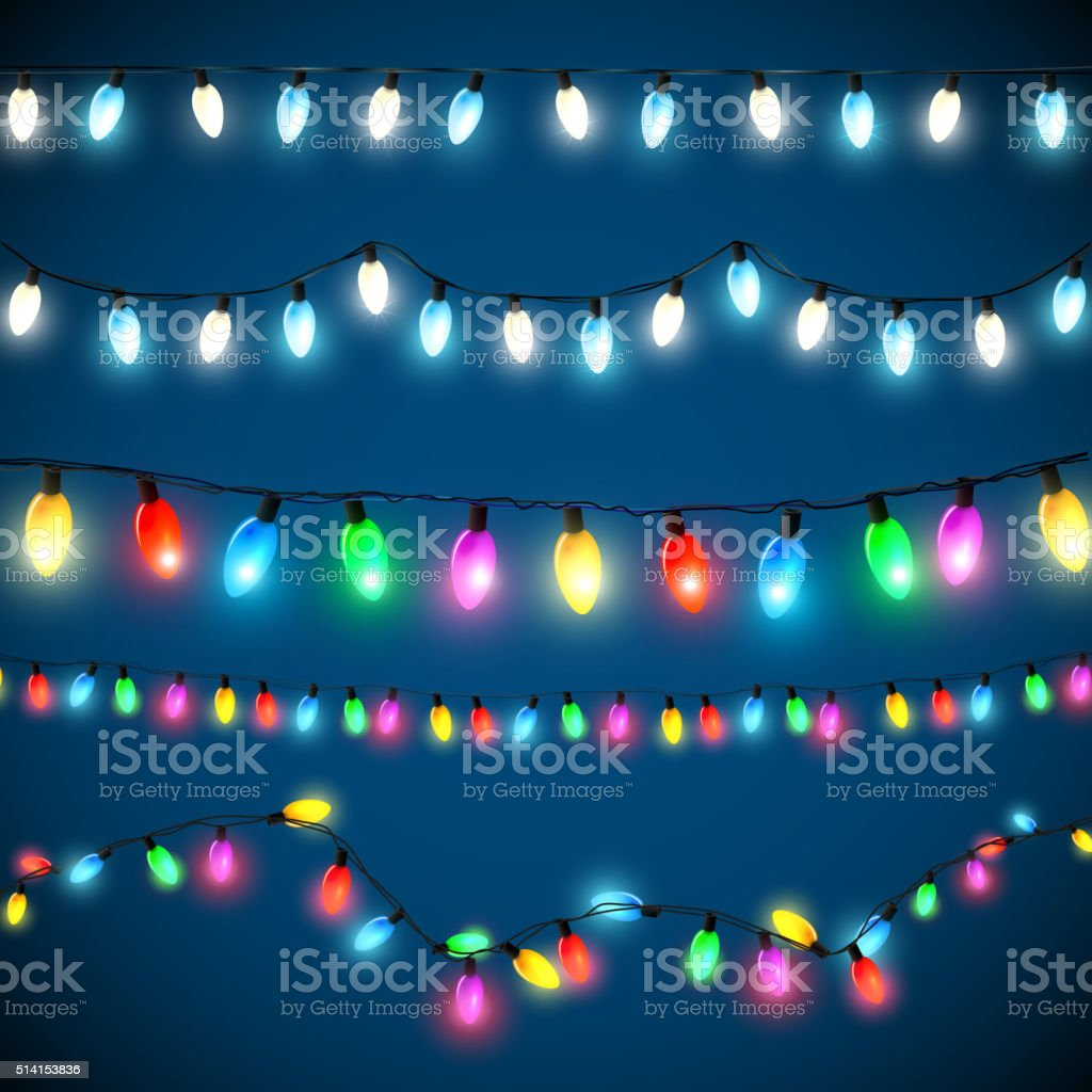 Christmas lights set vector art illustration
