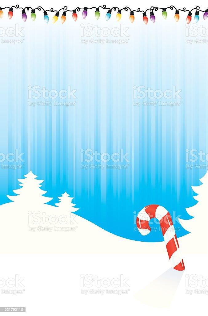 Christmas Lights, Winter Candy Cane Background vector art illustration