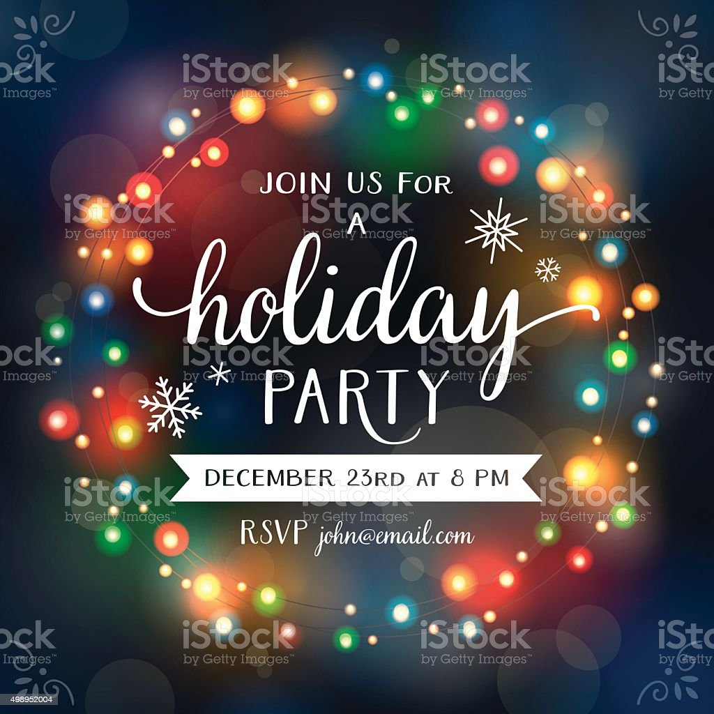 Christmas Lights Wreath Bokeh Invitation vector art illustration