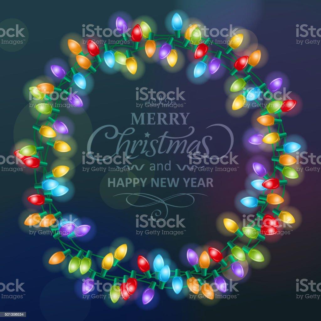 Christmas lights wreath vector art illustration