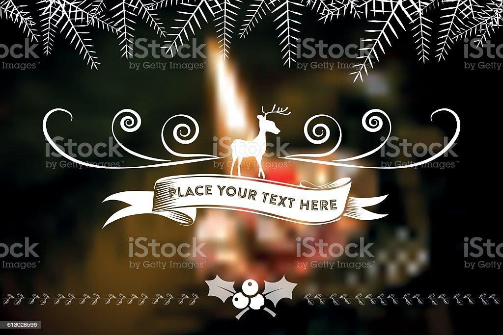 christmas  line ornament on blurred christmas candle vector art illustration