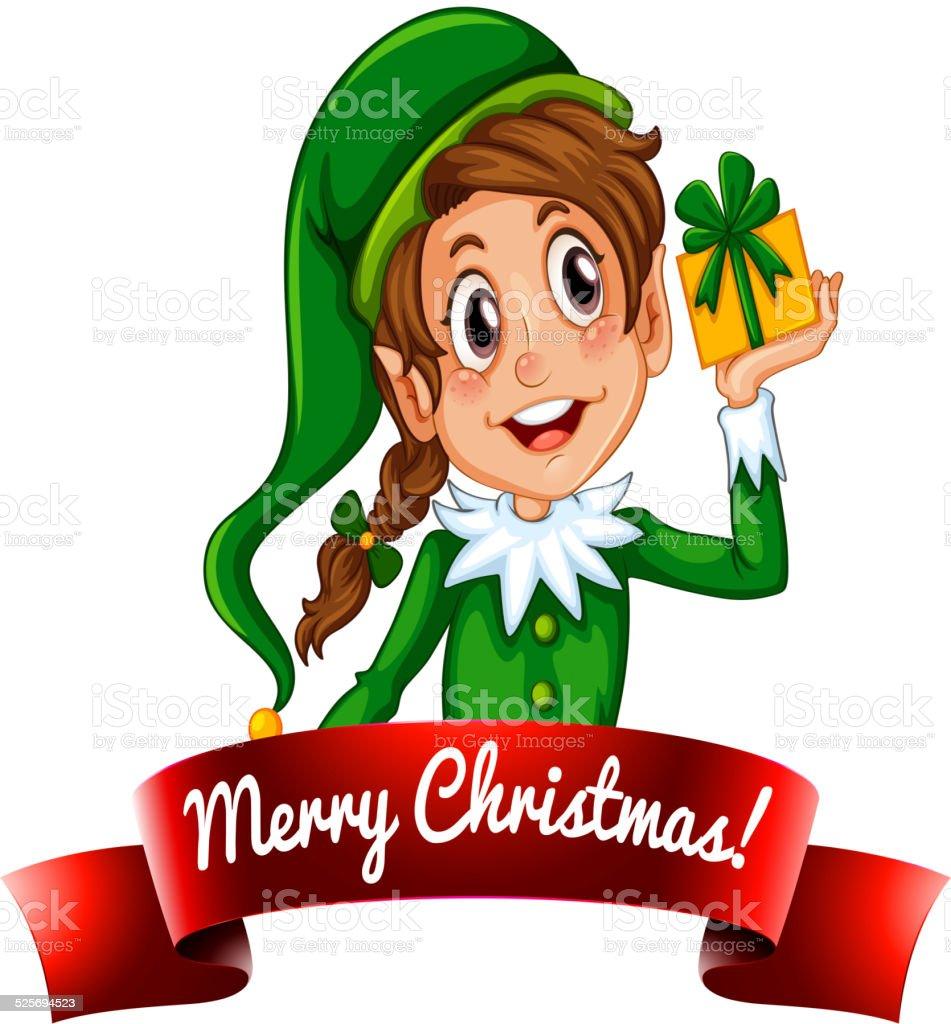 Christmas logo with female elf vector art illustration