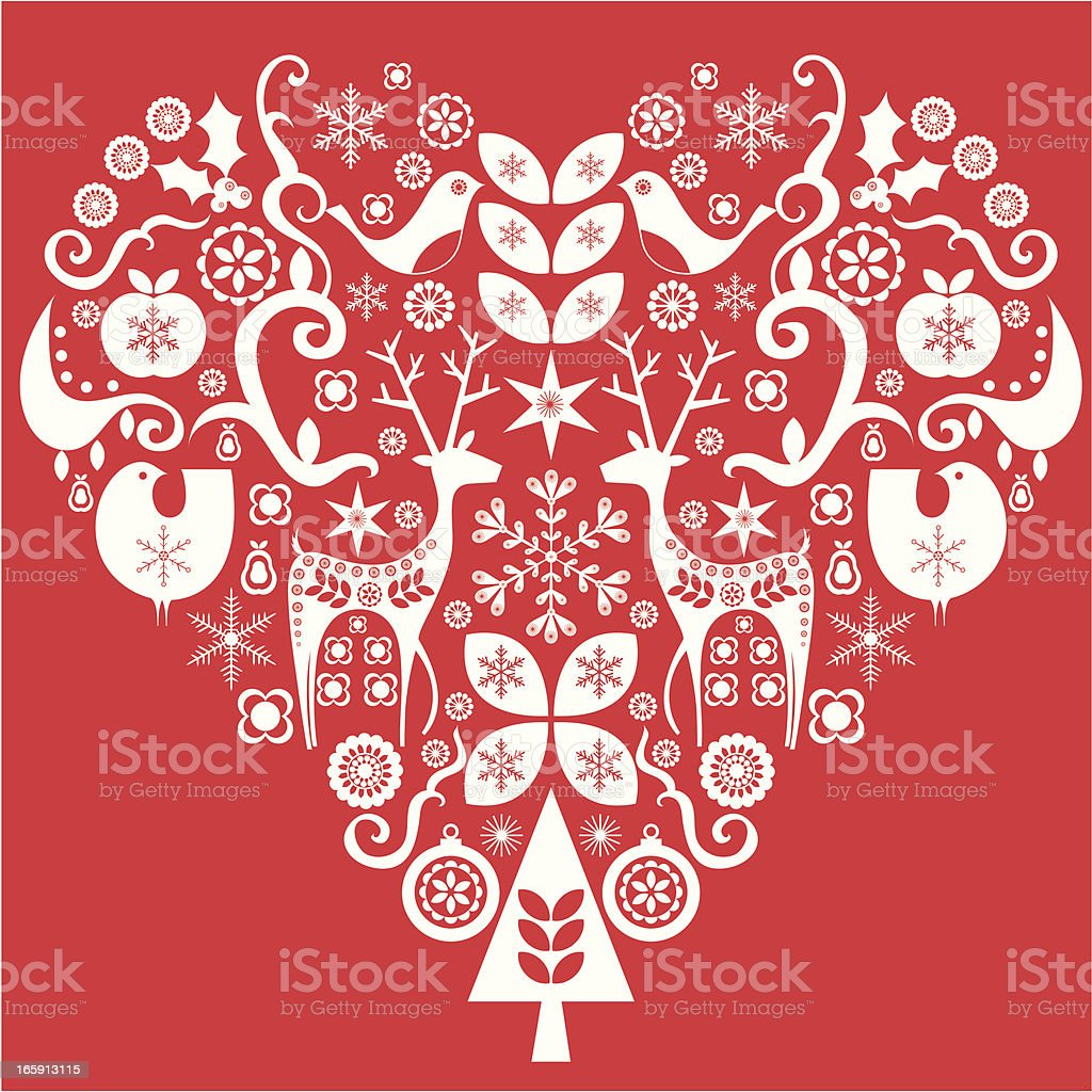 Christmas love heart vector art illustration