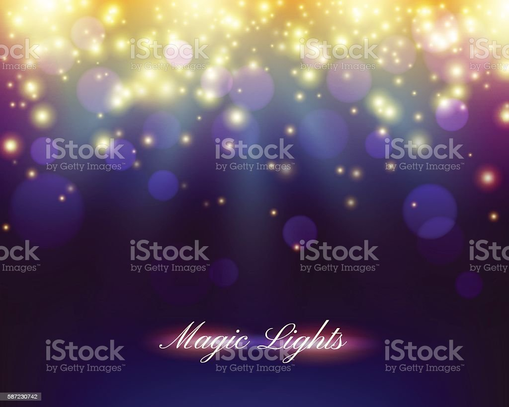 Christmas magical background with light effect vector art illustration