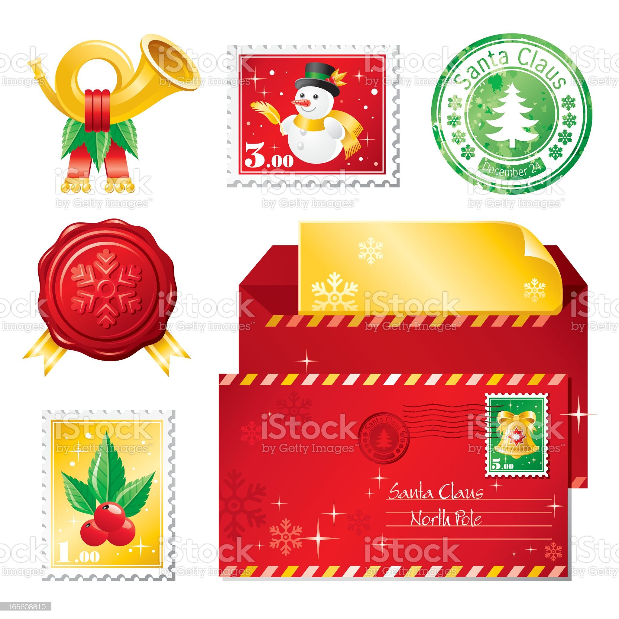 Christmas mail icon set royalty-free stock vector art