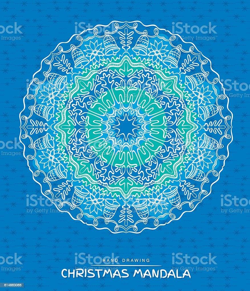 Christmas mandala with decorative holidays elements vector art illustration