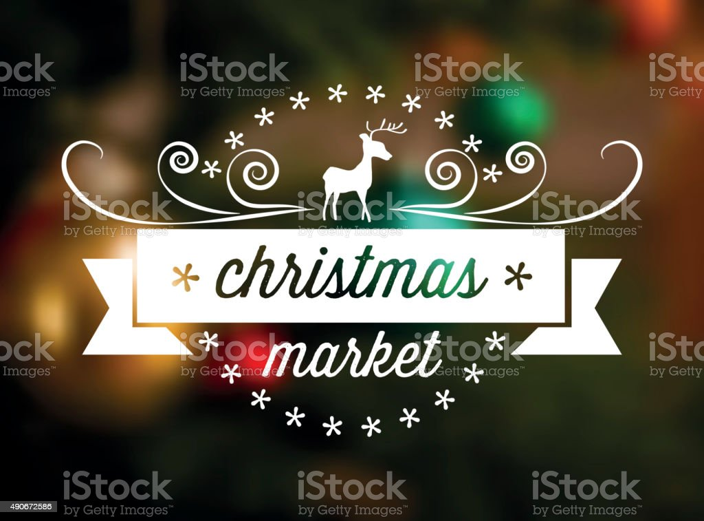 christmas market line art icon on blurred background stock photo