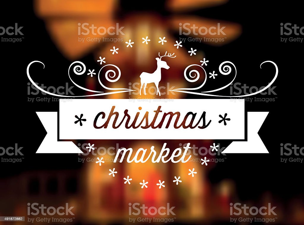 christmas market line art icon on blurred festive golden background stock photo