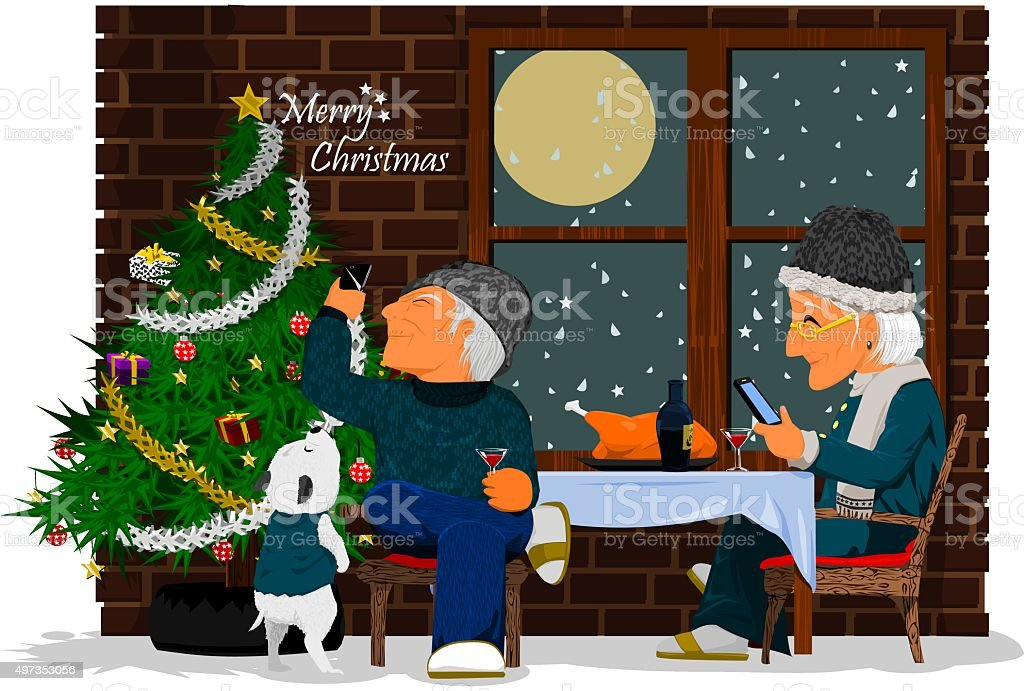 Christmas meal vector art illustration