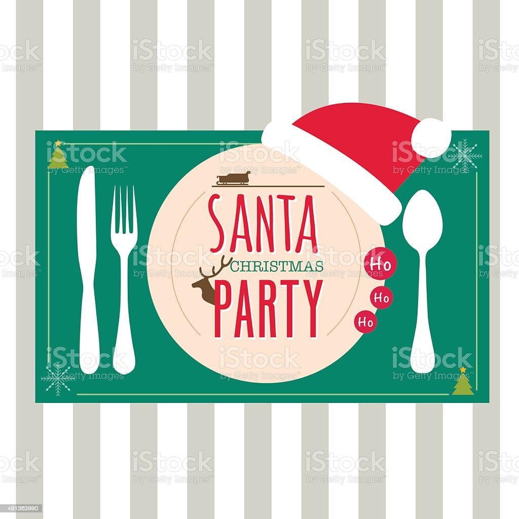 Christmas menu design dinner party elements vector art illustration