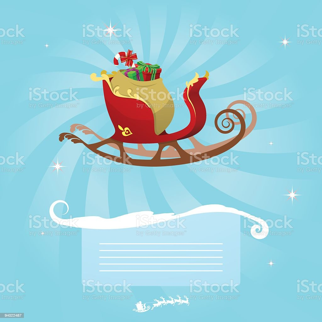 Christmas Message - Santa's Sleigh royalty-free stock vector art