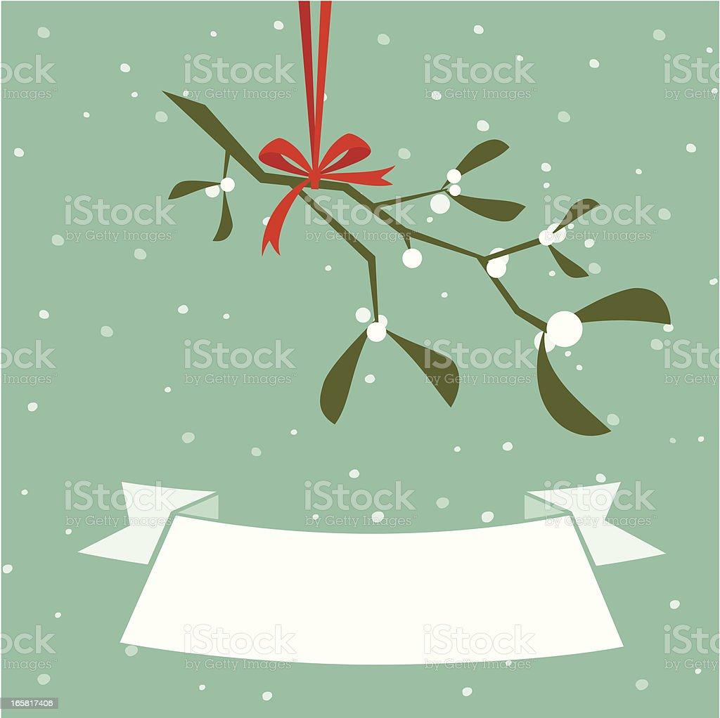 Christmas mistletoe banner vector art illustration