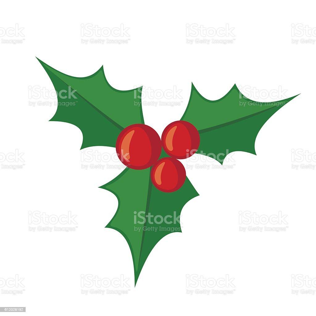 Christmas mistletoe icon in flat style. vector art illustration