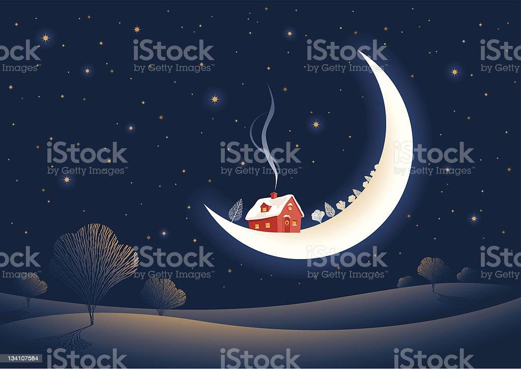 Christmas moonlit night royalty-free stock vector art