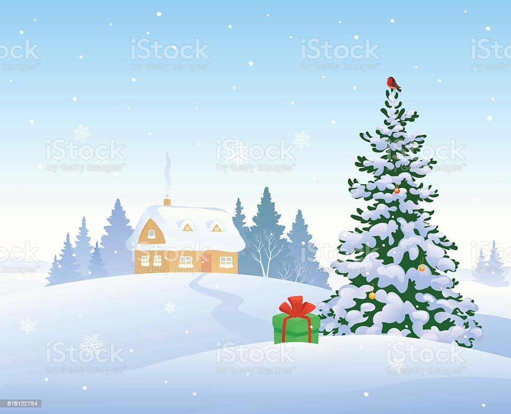 Christmas house with snow art - Christmas Morning House Royalty Free Stock Vector Art