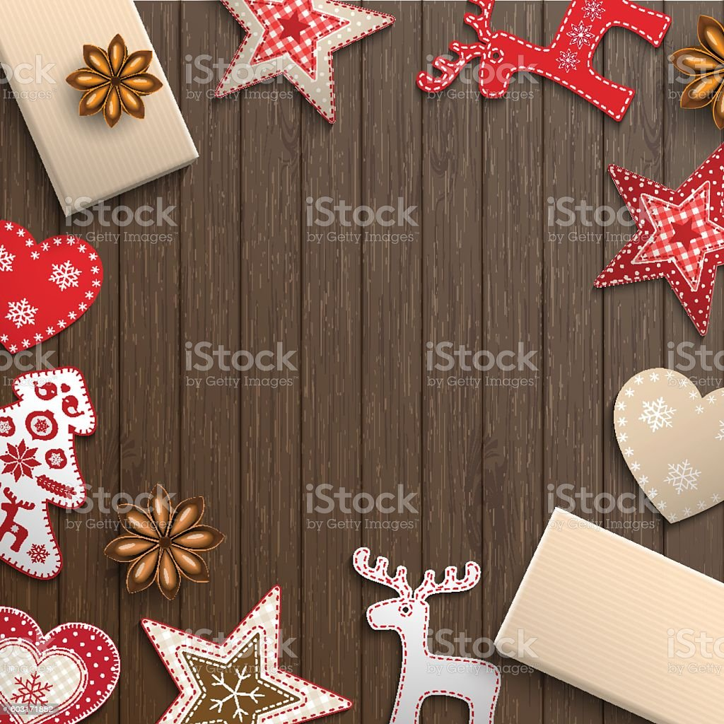 Christmas motive, small scandinavian styled decorations lying on wooden desk vector art illustration