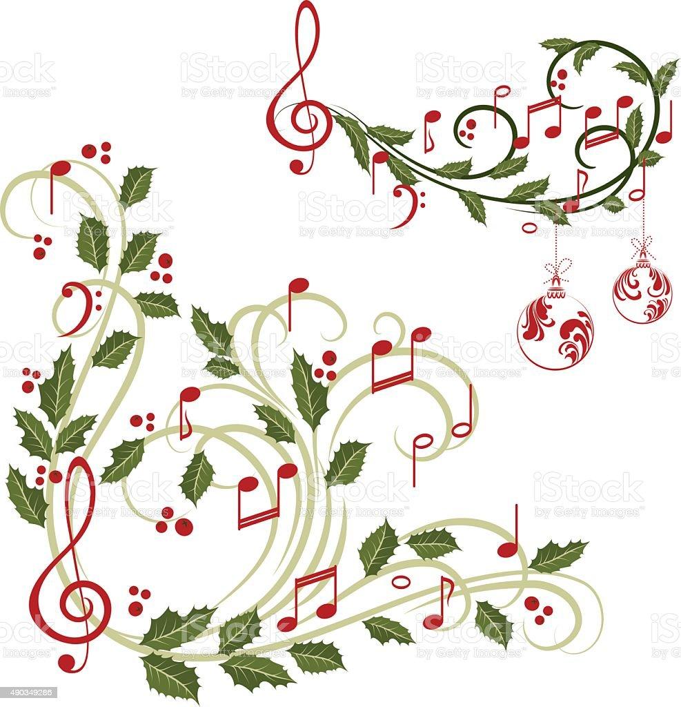 Christmas music vector art illustration