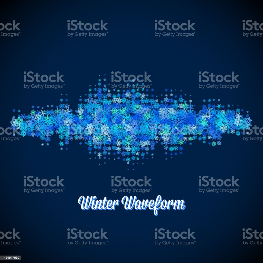 Christmas music waveform made of different scattered snowflakes vector art illustration
