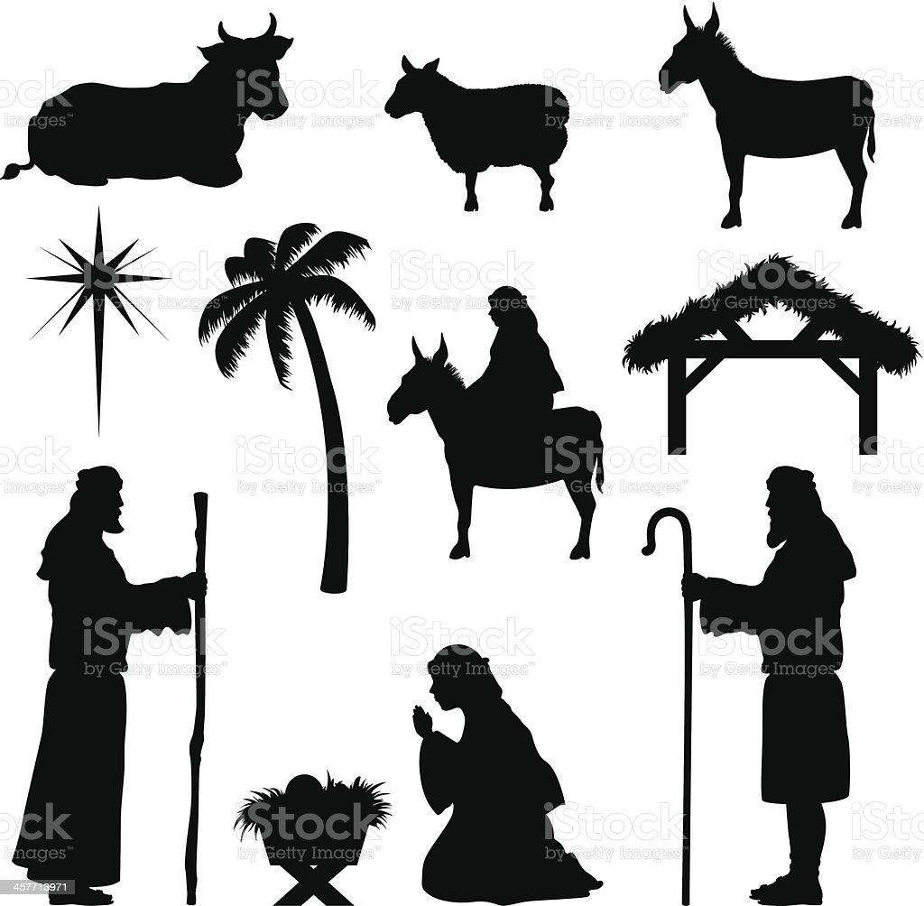 Christmas Nativity Icons-Shepherd vector art illustration
