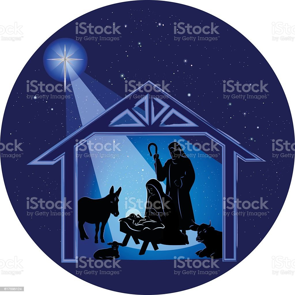 Christmas Nativity Scene at Night vector art illustration