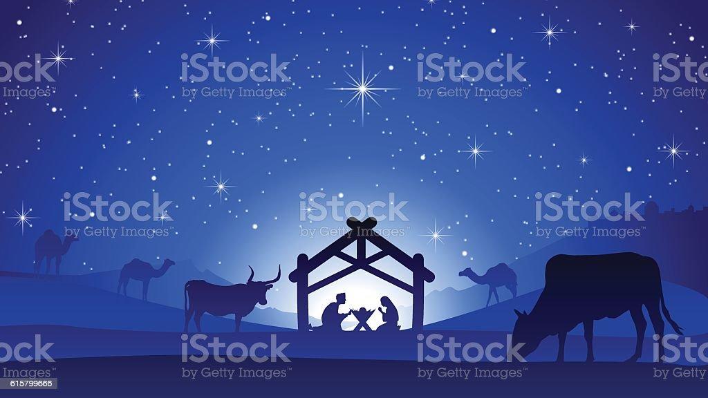 Christmas Nativity Scene - Birth of Jesus Christ vector art illustration