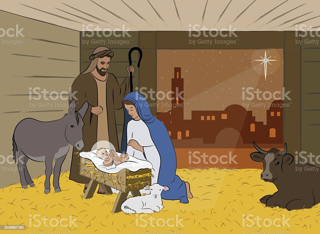 Christmas Nativity Scene Illustration vector art illustration