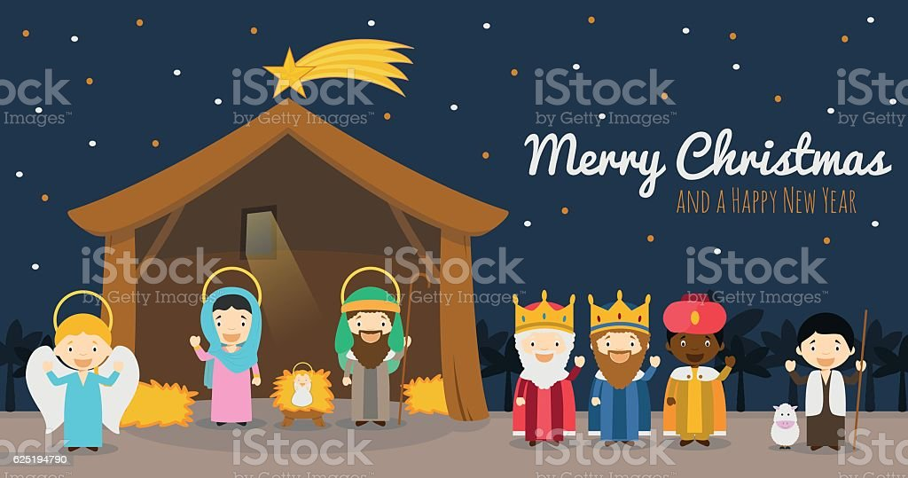 Christmas Nativity scene with Holy Family and Three Wise Men vector art illustration