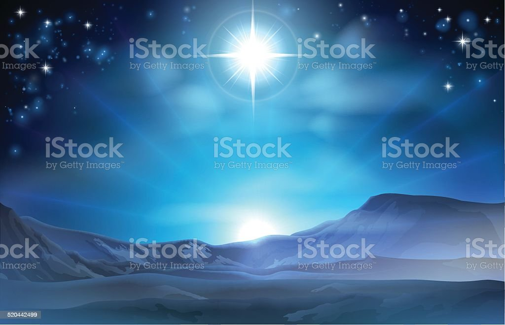 Christmas Nativity Star of Bethlehem vector art illustration