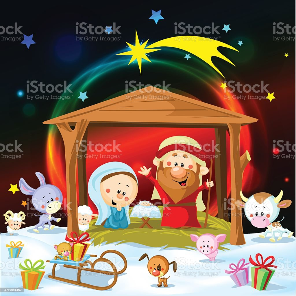 christmas nativity with lights and cute animals royalty-free stock vector art
