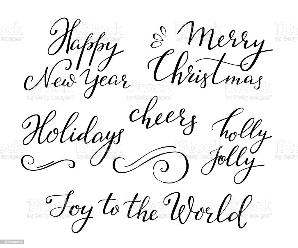 Christmas New Year calligraphy vector art illustration