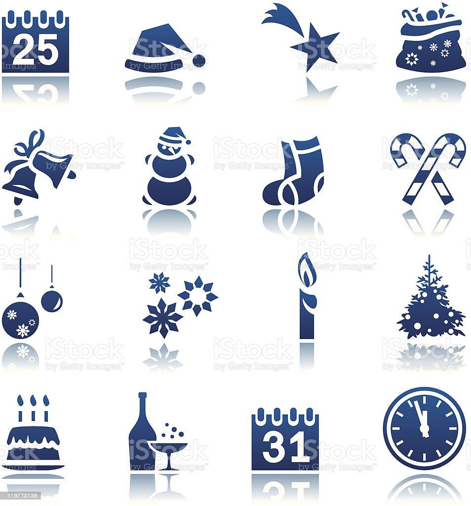 Noël Nouvel An & Ensemble d'icônes stock vecteur libres de droits libre de droits