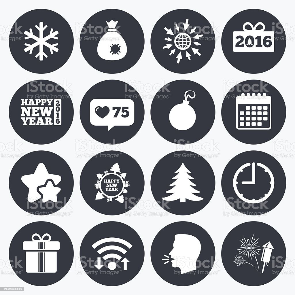 Christmas, new year icons. Gift box, fireworks. vector art illustration