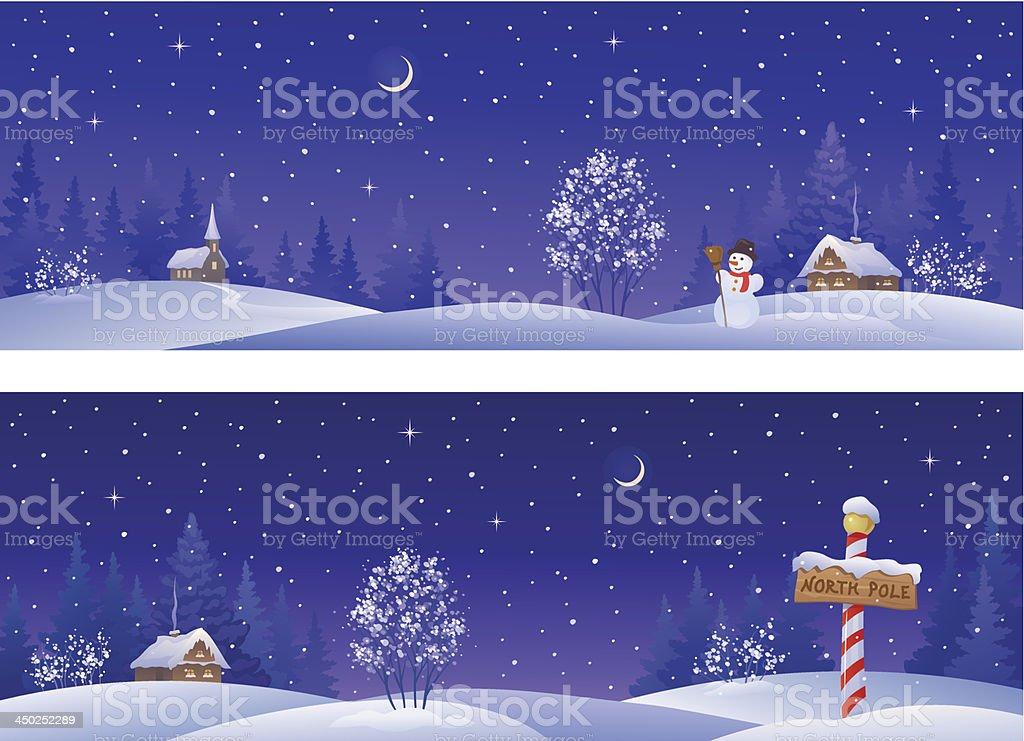 Christmas night banners vector art illustration