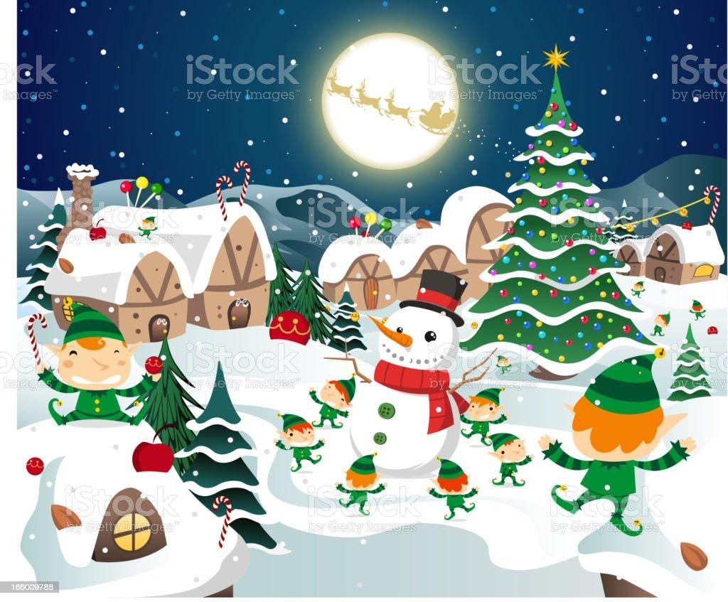 Christmas night full moon party scene royalty-free stock vector art