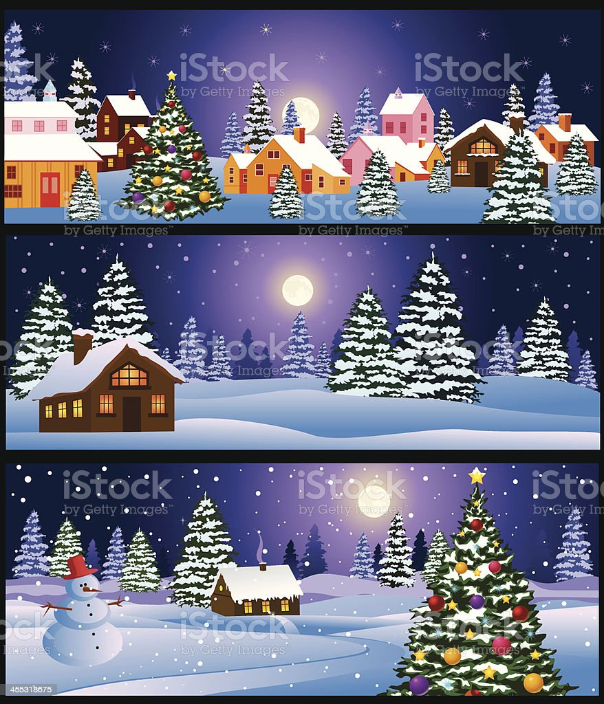 Christmas Night Landscape royalty-free stock vector art