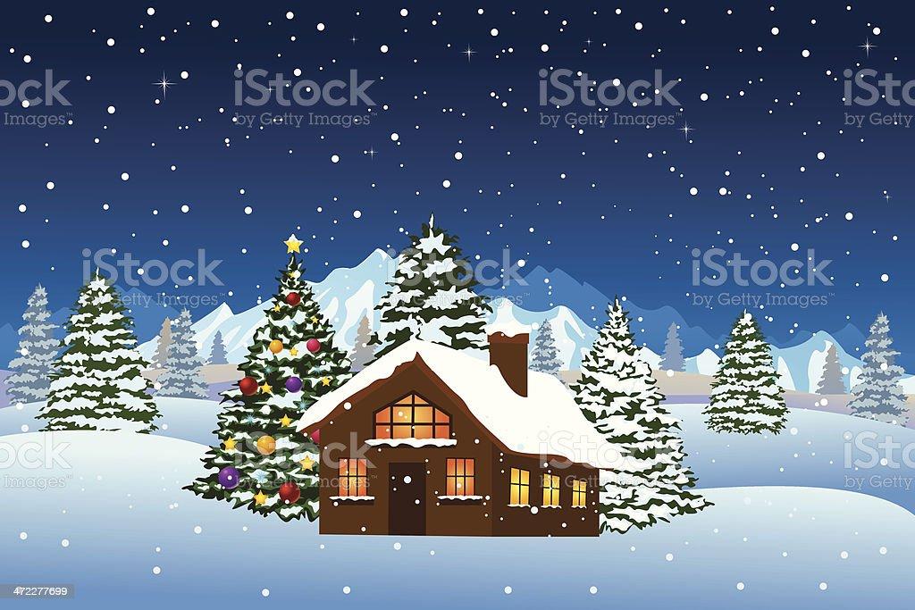 Christmas Night Landscape vector art illustration