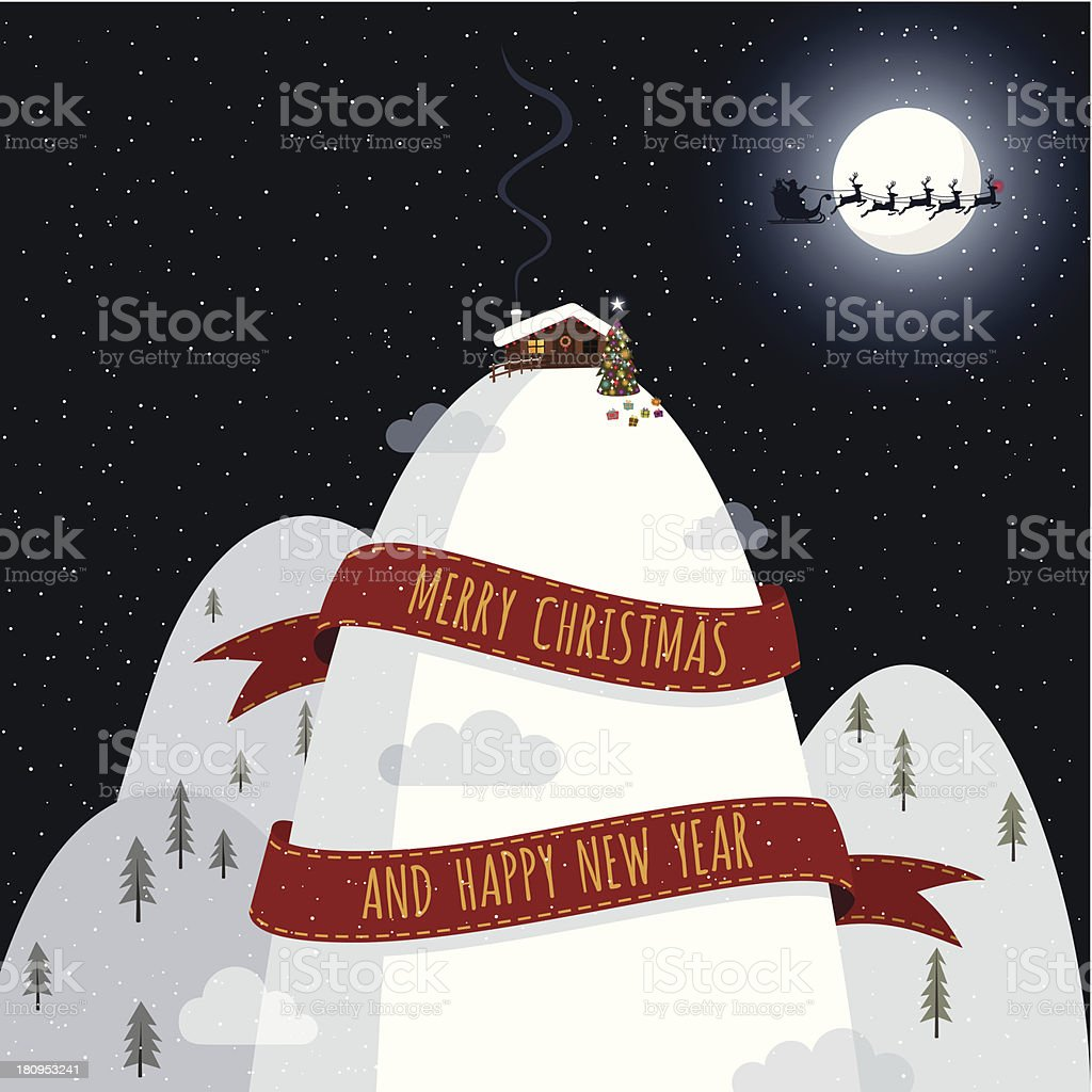 Christmas night snow mountains santa claus illustration vector minimil royalty-free stock vector art