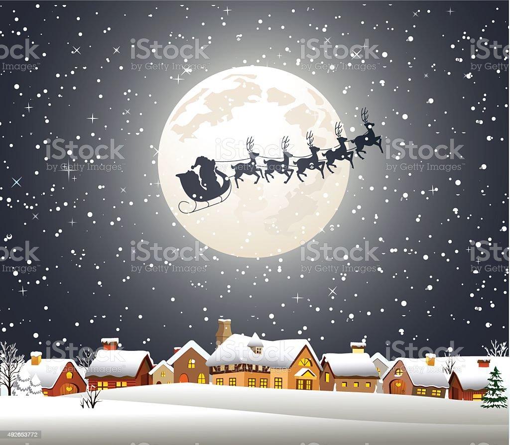 Christmas Night vector art illustration