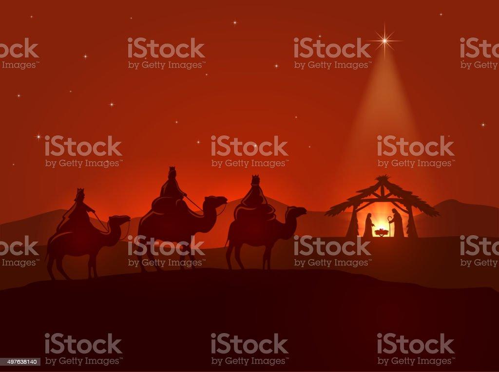 Christmas night with shining star vector art illustration