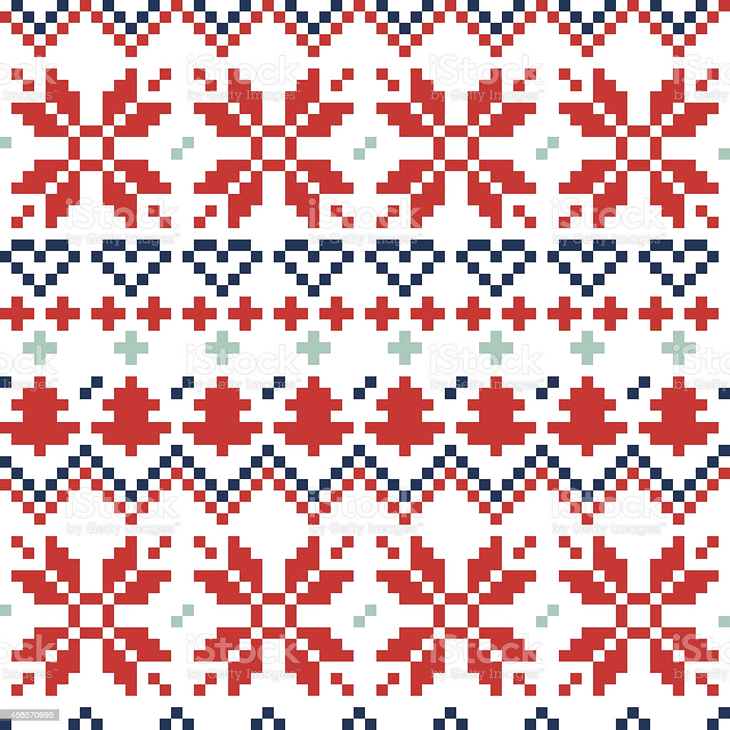 Christmas Nordic seamless pattern ( blue and red ) royalty-free stock vector art