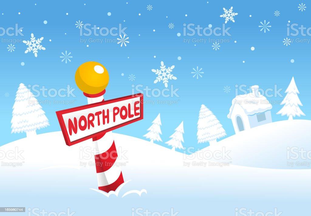 Christmas North Pole Winter Snowy Sign vector art illustration
