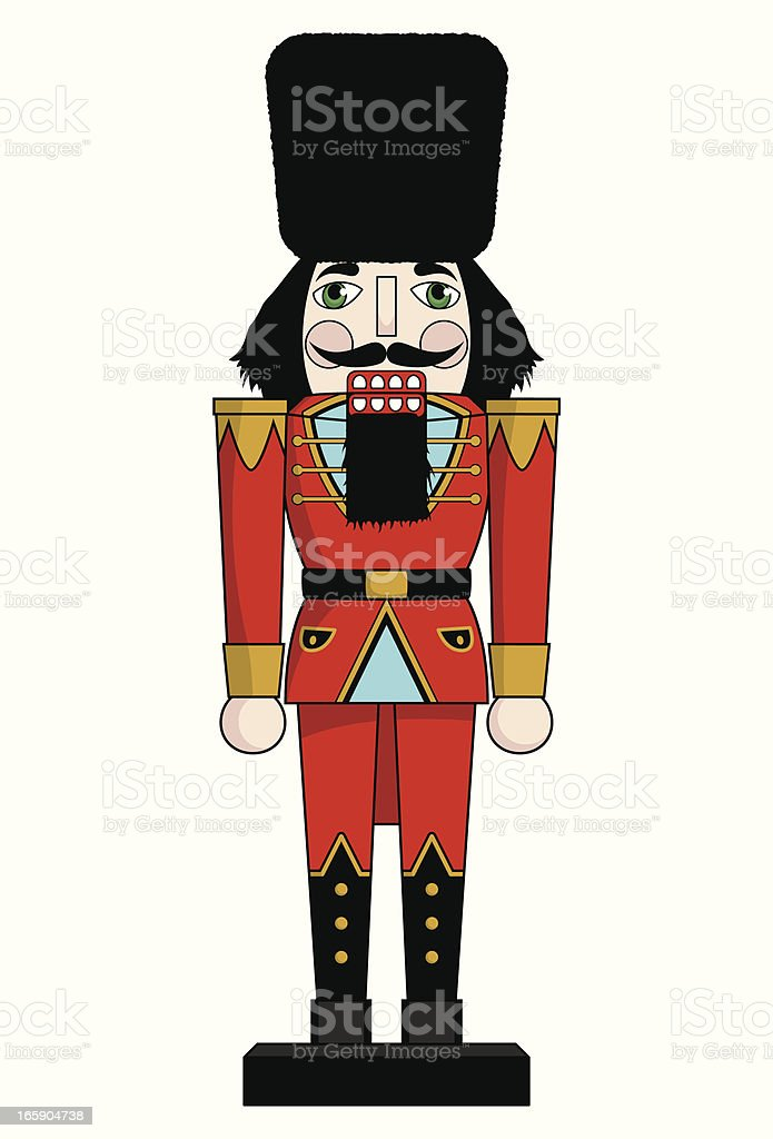 Christmas Nutcracker in red vector art illustration