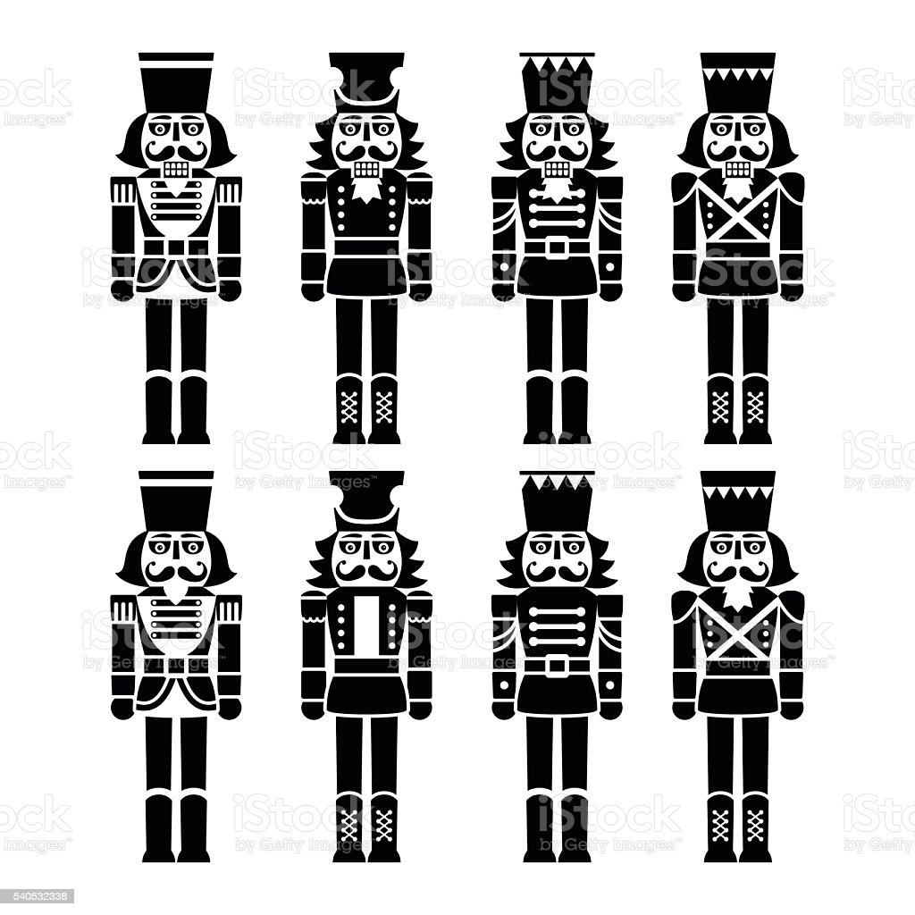 Christmas nutcracker - soldier figurine black icons set vector art illustration